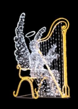 Anioł siedzący grający na harfie ALH-230-FL